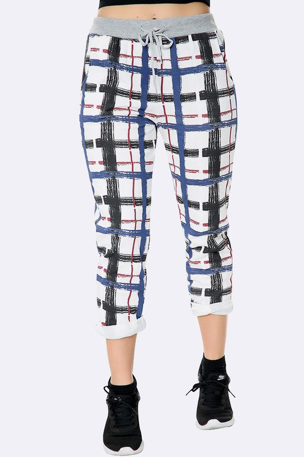 Italian Graphic Check Print Trousers