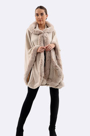 Agnes Fluffy Border Hooded Cape Poncho - Love My Fashions - Womens Fashions UK