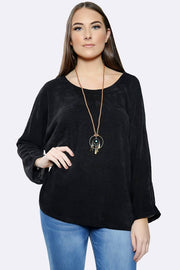 Italian Plain Cordroy Pattern Necklace Top