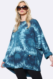 Italian Cotton Tie Dye Circle Print Turn Up Sleeve Tunic Top
