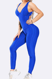 Women's One Piece Texture Honeycomb Fitted Jumpsuit