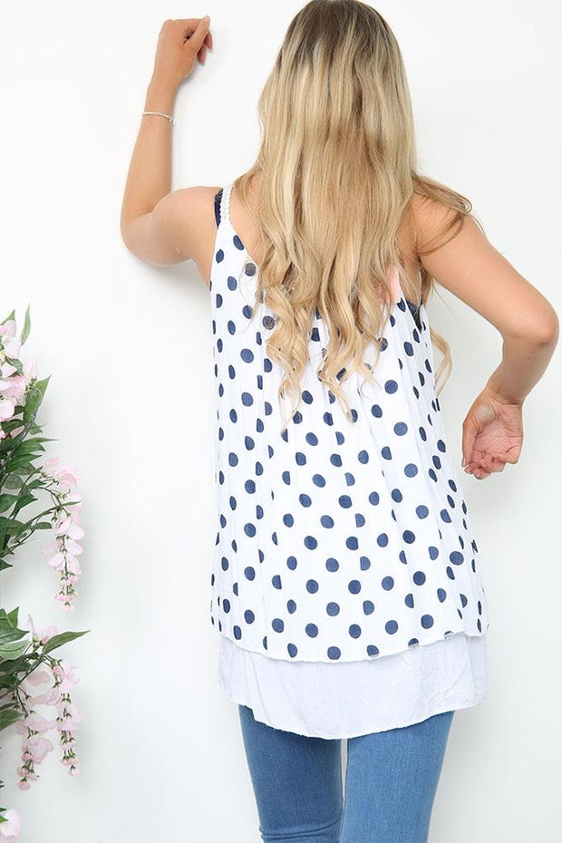 Italian Plaited Strap Detail Dot Layer Cami Top