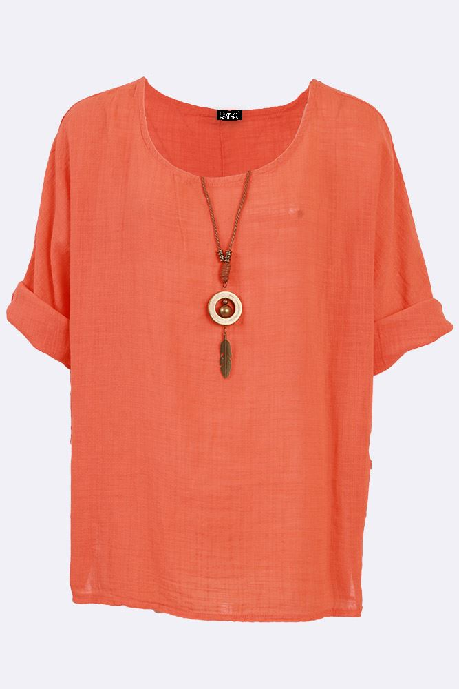 Miranda Cotton Plain Feather Pendant Necklace Top