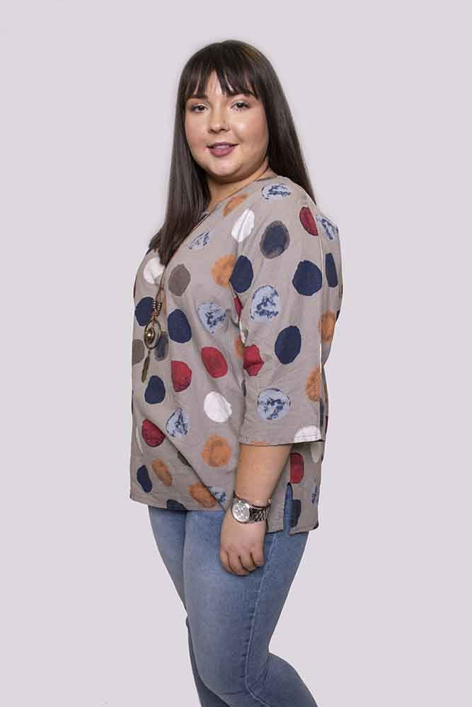 Katie Linen Multi Polka Dot Necklace Top - Love My Fashions - Womens Fashions UK
