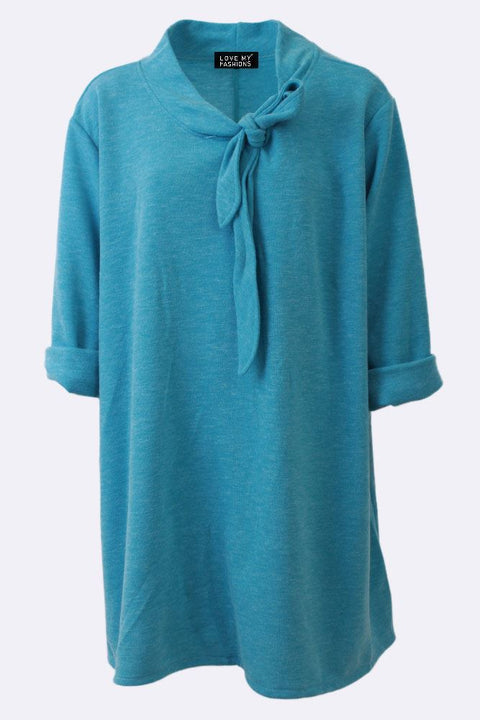 Annabella Plain Tie Neck Swing Top