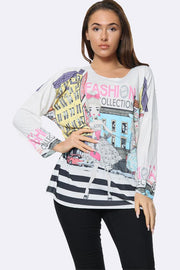 Italian Fashion Collection Print Tunic Top