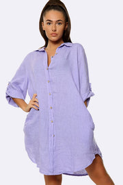 Italian Collared Neck Button Oversized Top