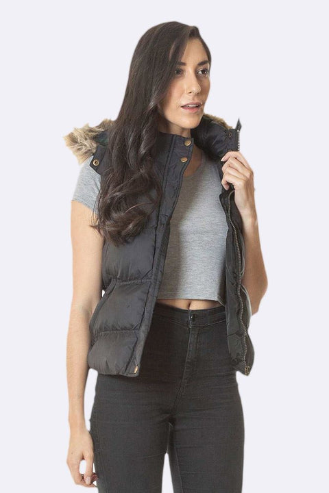 Lucie Brave Soul Padded Faux Fur Hooded Gilet Jacket - Love My Fashions - Womens Fashions UK