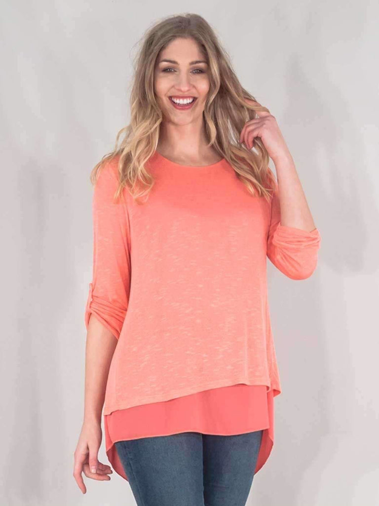 Madelyn Italian 3 Back Button Chiffon Fine Knit Top