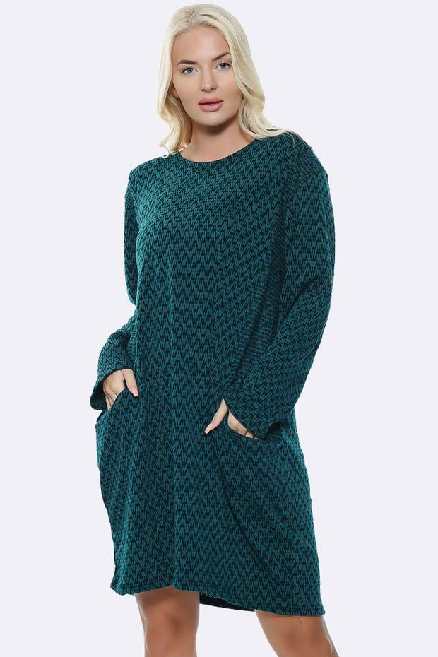 Italian Zig Zag Pattern Pockets Dress