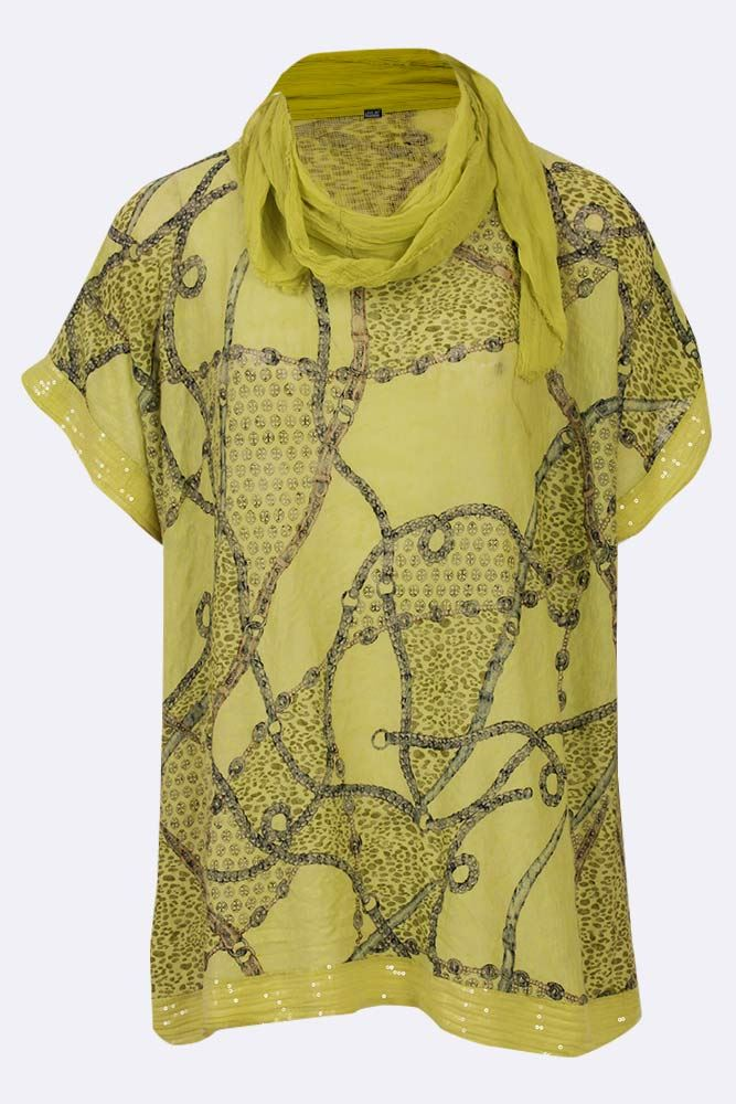 Jaycee Viscose Leopard Chain Sequin Hem Scarf Top - Love My Fashions - Womens Fashions UK