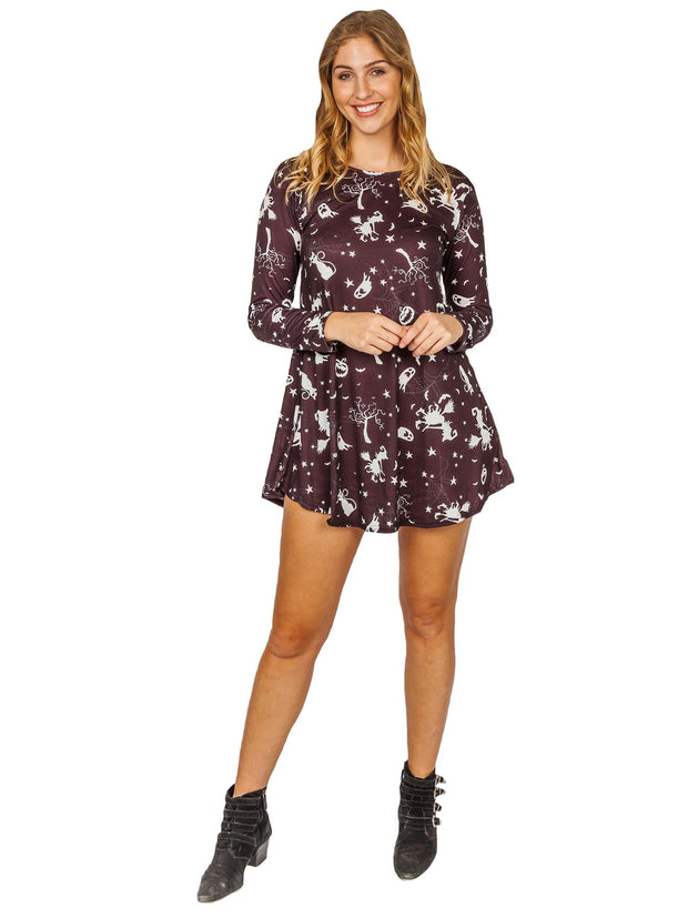 Mia-rose Halloween Ghost Pumpkin Prints Swing Dress