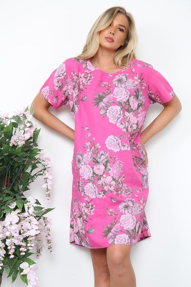 Italian Carnation Floral Print Pocket Tunic
