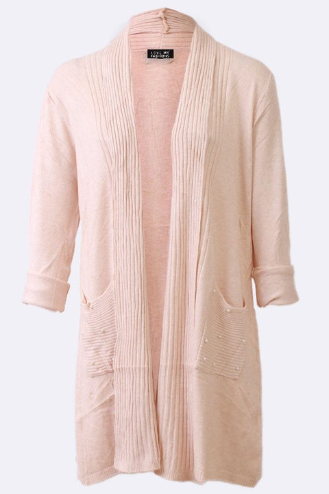Aleksandra Beads Stripe Pockets Open Front Cardigan