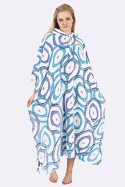 Odalys Circle Print Hooded Fleece Poncho Blanket