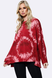 Italian Cotton Tie Dye Circle Print Tunic Necklace Top