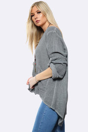 Italian Plain Front Pocket Button Up Sleeve Asymmetric Hem Necklace Top