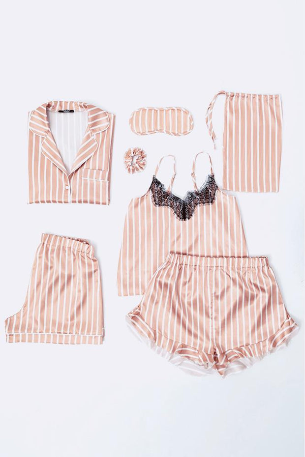 Satin Pink Stripe Pj Mixed Set