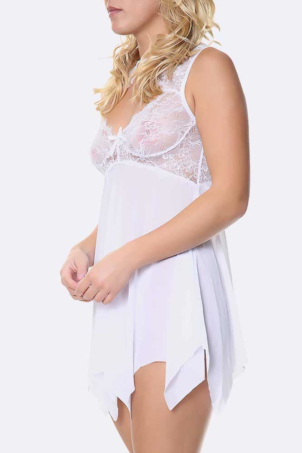 2 Piece Hanky Hem Cut Out Neck Slip Lingerie Set