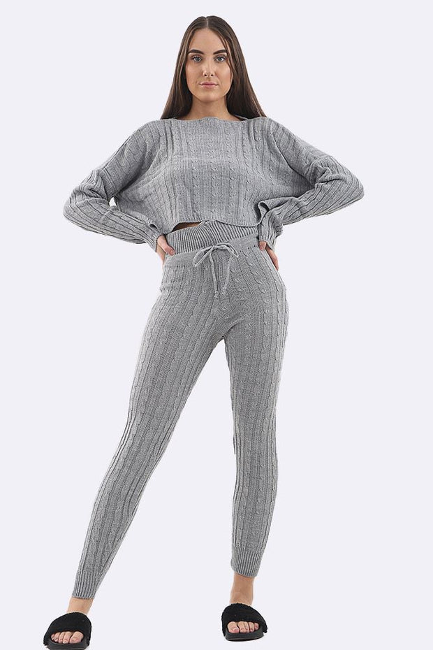Lesly Cotton Cable Knitted Tracksuit - Love My Fashions - Womens Fashions UK