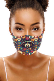 Floral Sugar Skull Print Face Mask Cover