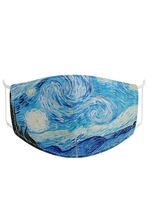 The Starry Night Print Fashion Face Mask