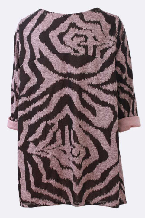 Faith Zebra Print Crew Neck Tunic Top