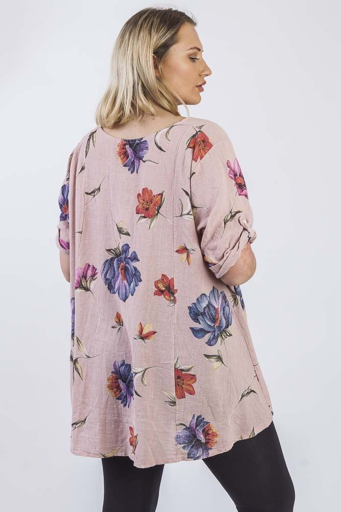 Whitney Linen Mixed Floral Printed Button Top - Love My Fashions - Womens Fashions UK