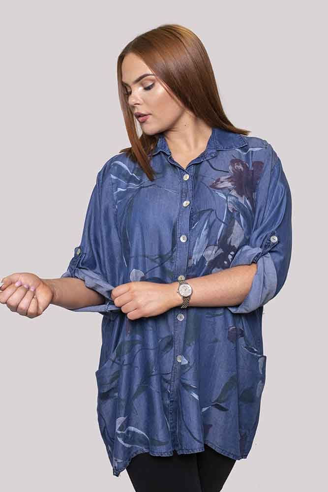Ainsley Cotton Denim Floral Print Top - Love My Fashions - Womens Fashions UK