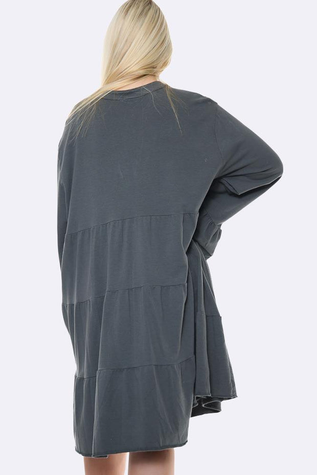 Italian Notch Neck Tiered Tunic Top