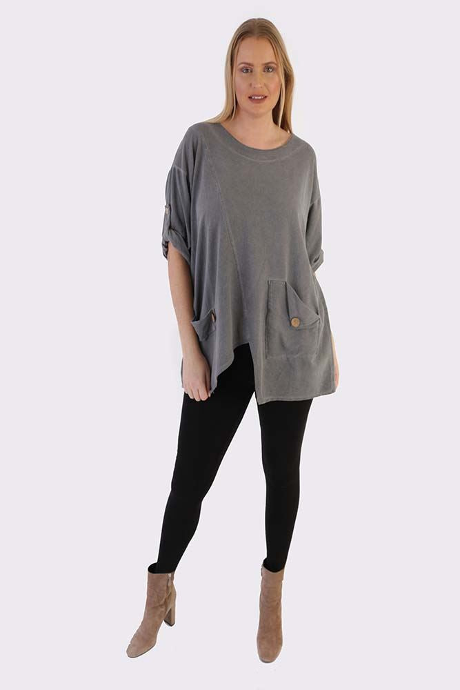 Lexi-mae Cotton Split Front Button Pocket Top - Love My Fashions - Womens Fashions UK