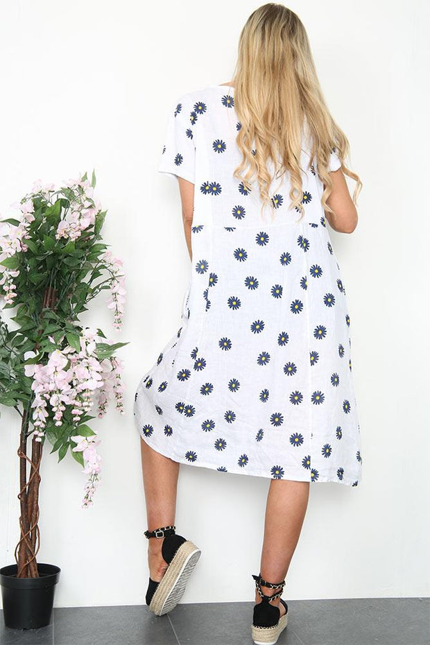 Italian Daisy Print Pintuck Neck Dress