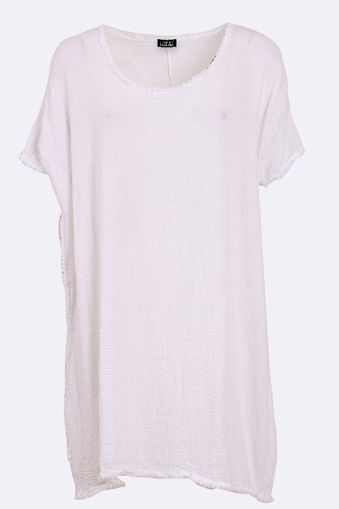 Elinor Cotton Textured Frayed Hem Top - Love My Fashions - Womens Fashions UK