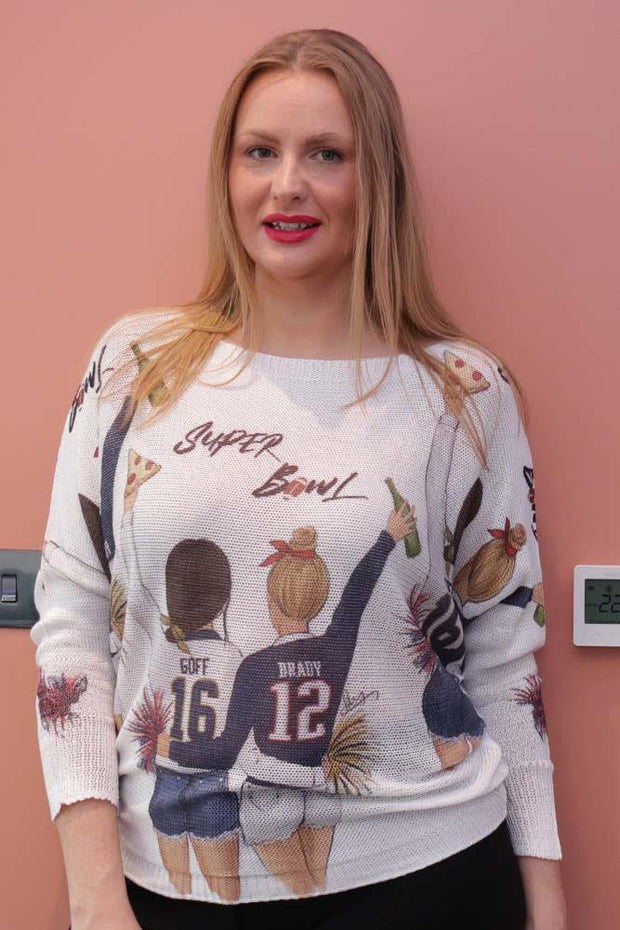 Naomi Super Bowl Slogan Print Baggy Jumper - Love My Fashions - Womens Fashions UK
