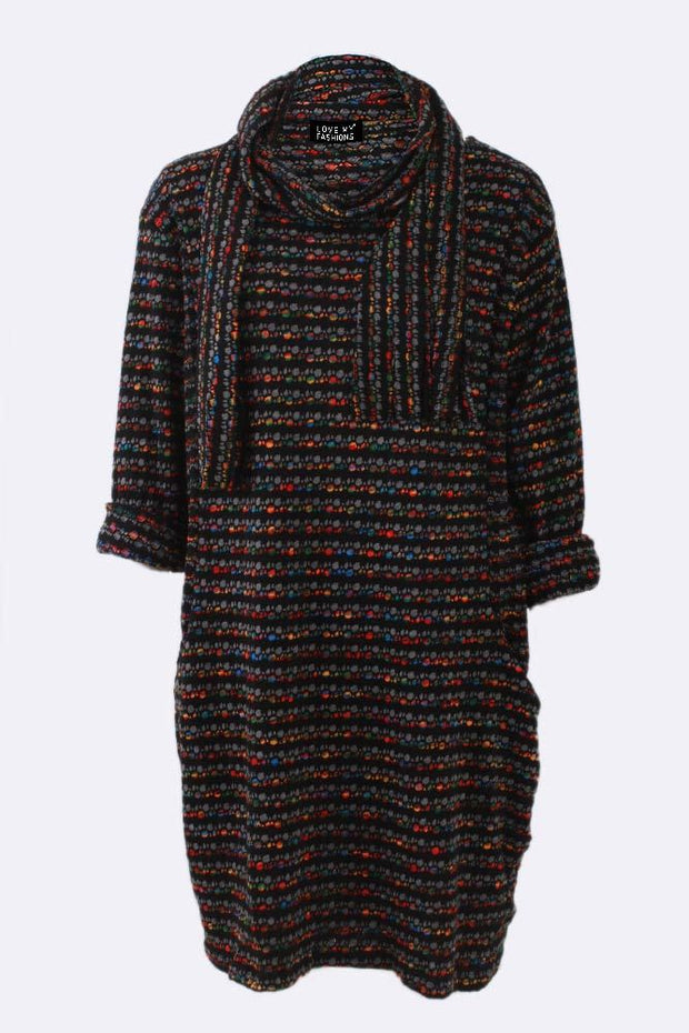 Marley Multi Dotted Stripe Scarf Dress