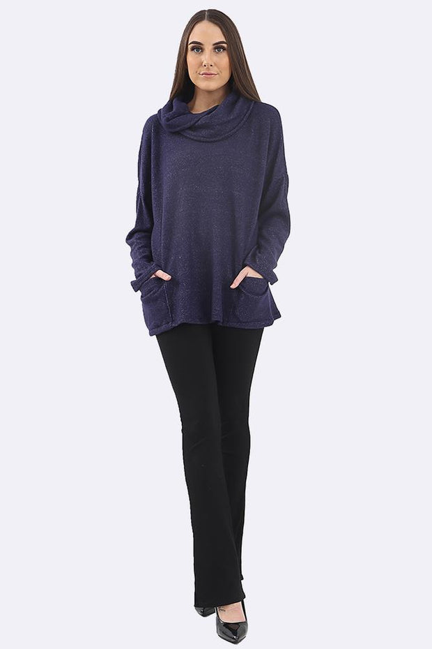 Florence Plain Fluffy Cowl Neck Pocket Crop Top