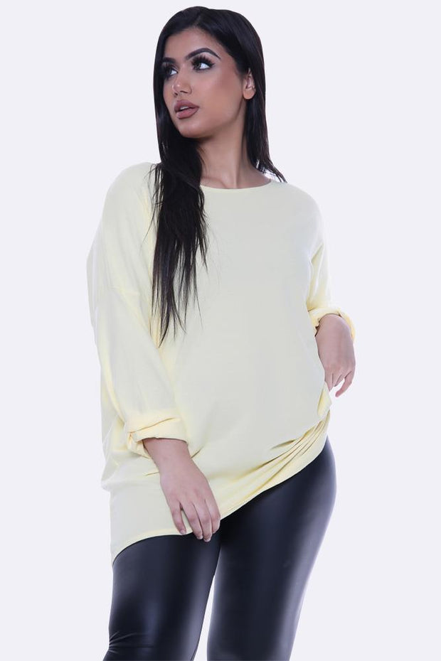 Italian Plain Scoop Neck Boxy Top