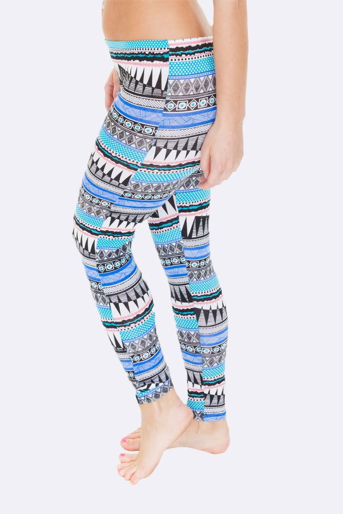 Skyla Full Aztec Print Blue Legging