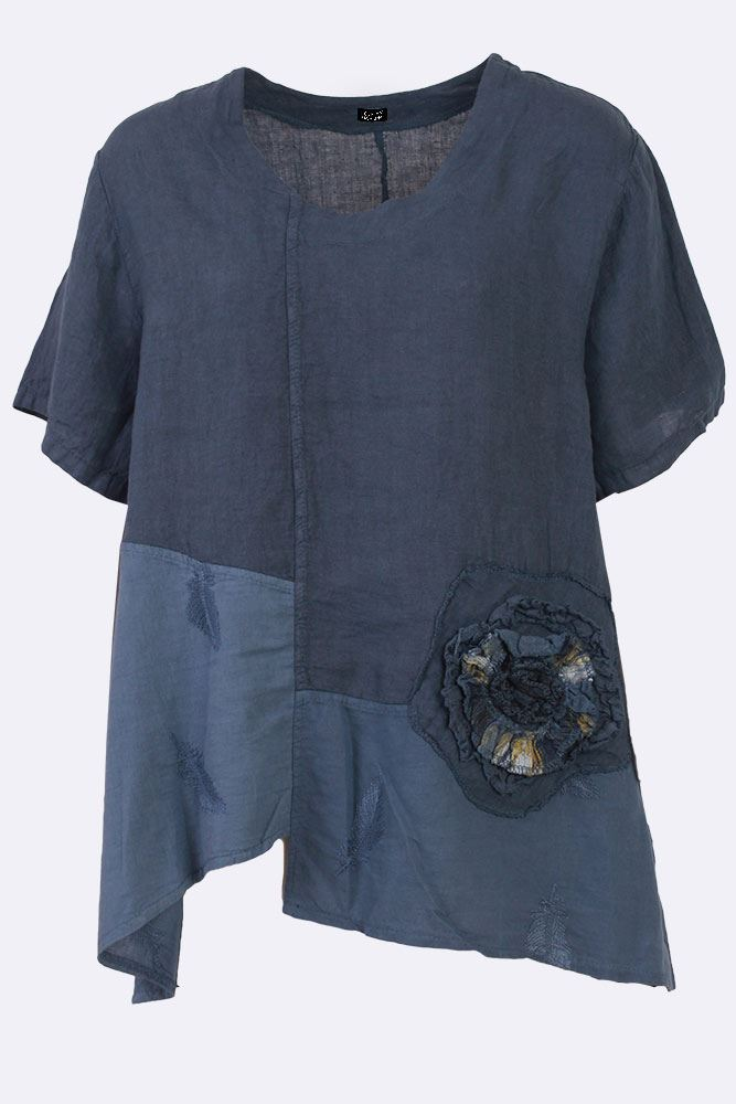 Ryann Linen Applique Flower Paneled Top - Love My Fashions - Womens Fashions UK