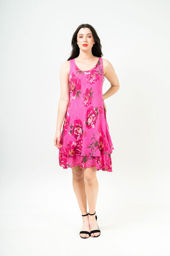 Sara Floral Sleeveless Layered Fill Hem Dress - Love My Fashions - Womens Fashions UK