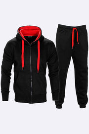 Mens Contrast Fleece Hooded Top Bottoms Tracksuit Regular Sizes - Love My Fashions - Womens Fashions UK