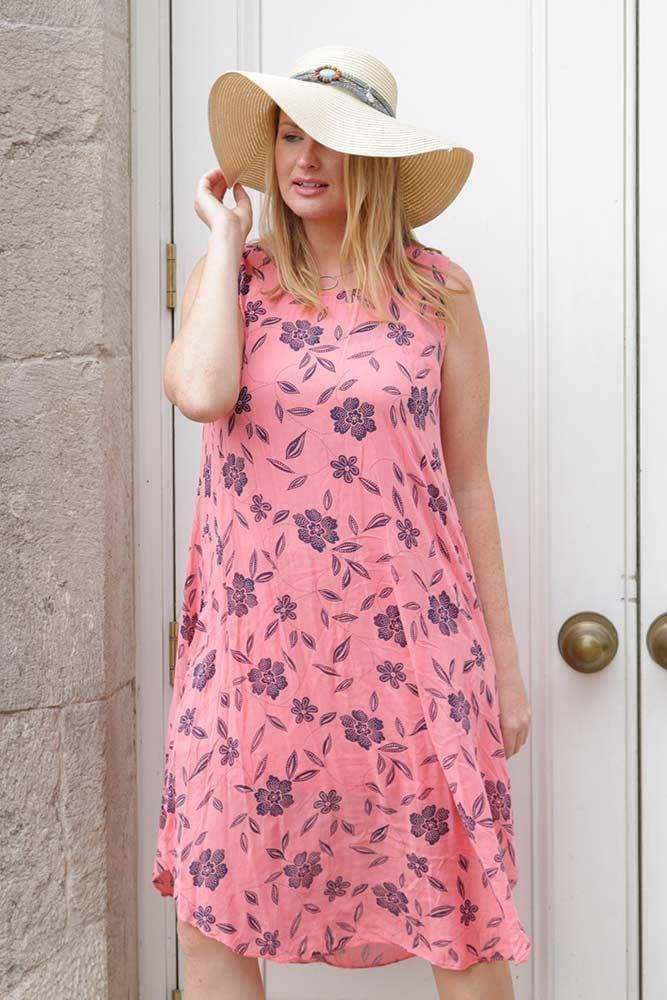 Raina Cotton Sleeveless Dotted Floral Dress - Love My Fashions - Womens Fashions UK