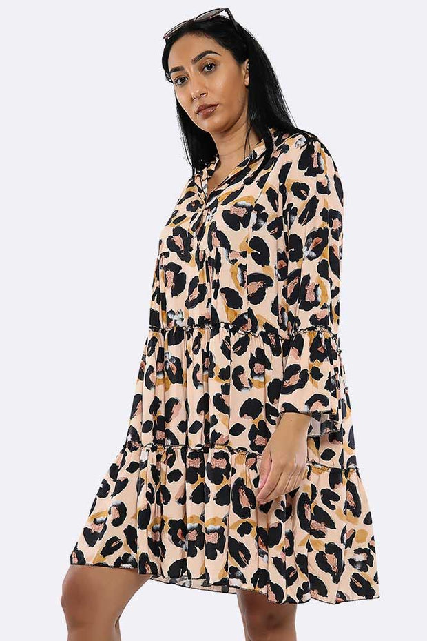 Italian Leoaprd Print Ruffled Hem Bell Sleeve Dress