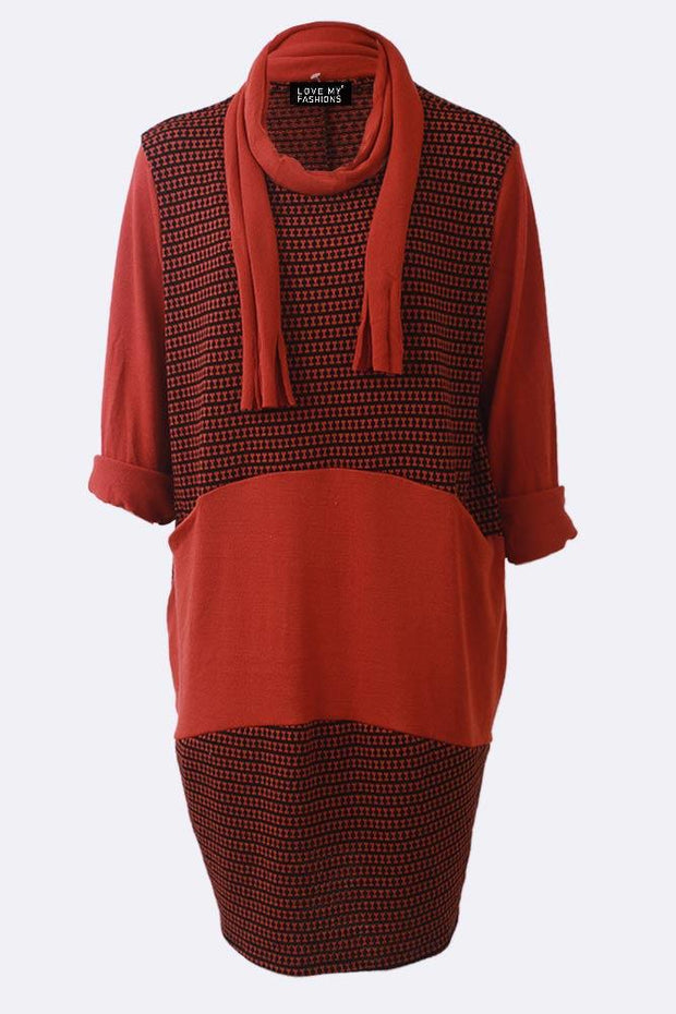 Amy Textured Stripe Patchwork Asymmetric Pocket Scarf Dress
