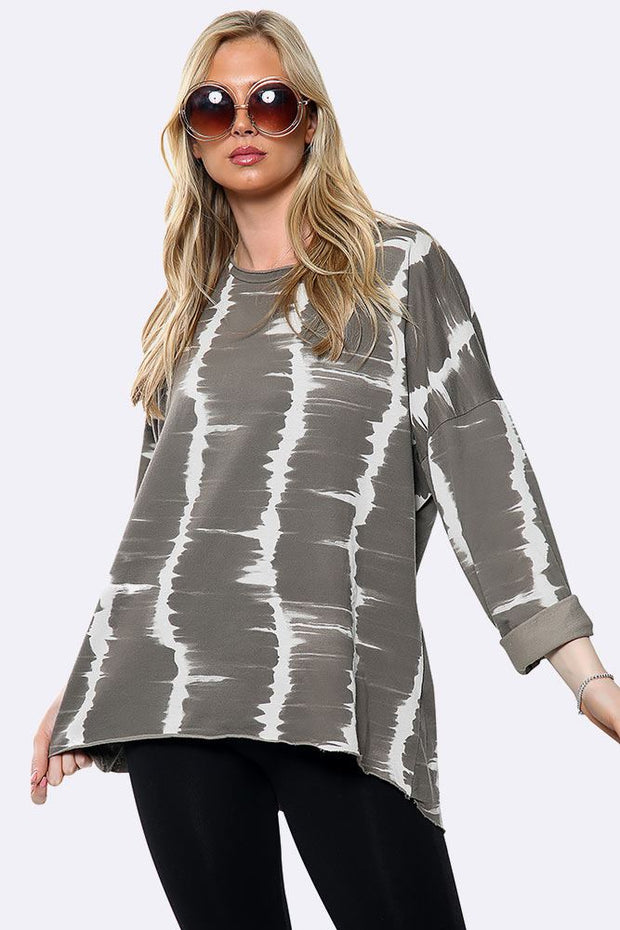 Asymmetric Hem Patch Tunic Top