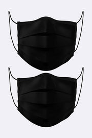 Pleated Black Print Cotton Face Mask Cover