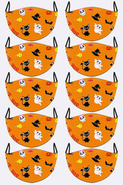 Cute Halloween Characters Print Face Mask Cover
