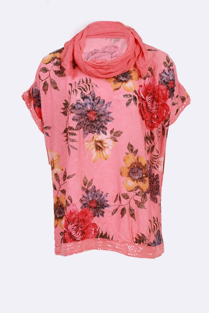 Celia Mixed Floral Sequin Hem Scarf Top