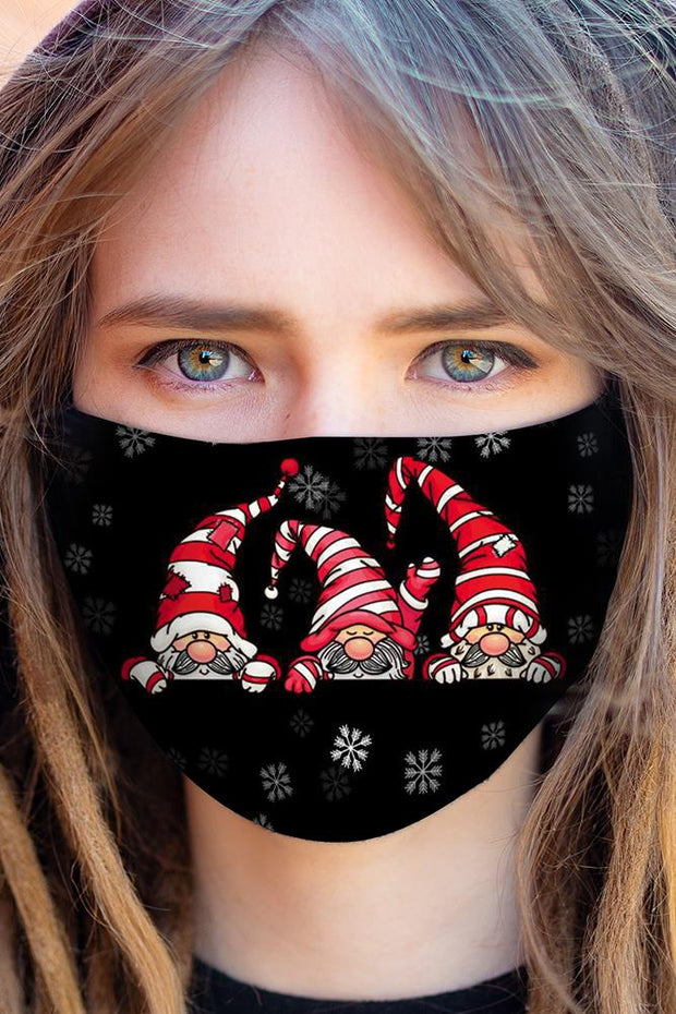 Cute Bearded Elfs Print Xmas Face Mask Cover