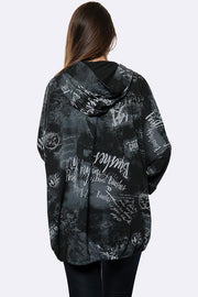 Italian Tie Dye Text Print Zip Hooded Cardigan
